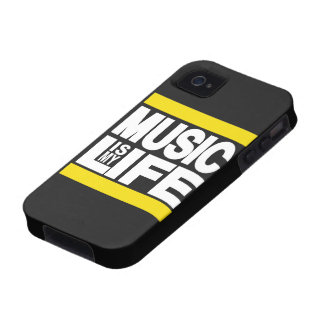 La música es mi amarillo de la vida Case-Mate iPhone 4 carcasa