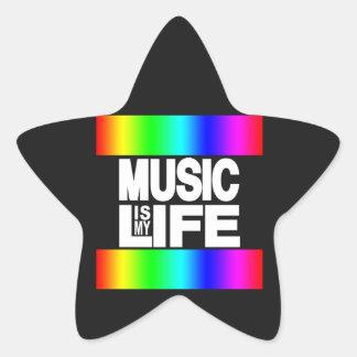 La música es mi arco iris de la vida pegatina en forma de estrella