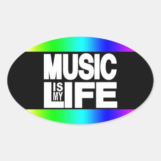 La música es mi arco iris de la vida pegatina ovalada