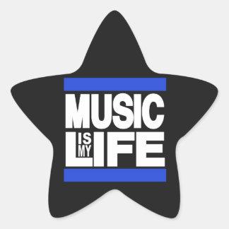 La música es mi azul de la vida pegatina en forma de estrella