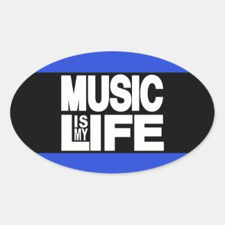 La música es mi azul de la vida pegatina ovalada