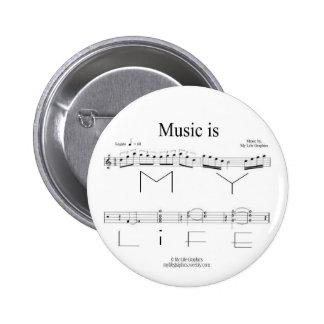 La música es mi botón de la vida pin
