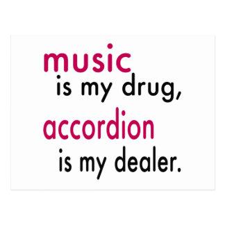 La música es mi droga, acordeón es mi distribuidor tarjeta postal