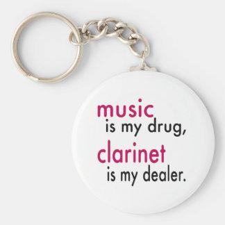 La música es mi droga, Clarinet es mi distribuidor Llavero Redondo Tipo Pin