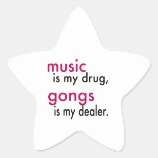La música es mi droga, gongos es mi distribuidor colcomanias forma de estrellaes personalizadas