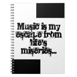 La música es mi escape. libros de apuntes