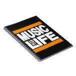 La música es mi naranja de la vida libros de apuntes con espiral