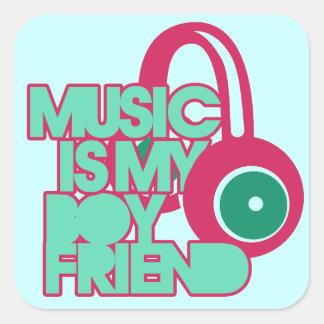La música es mi novio pegatina cuadrada