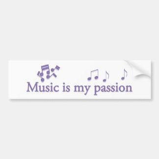 La música es mi pasión pegatina para auto