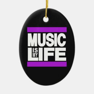 La música es mi púrpura de la vida adorno navideño ovalado de cerámica