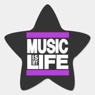 La música es mi púrpura de la vida pegatina en forma de estrella
