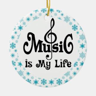 La música es mi regalo del navidad de la vida adorno navideño redondo de cerámica