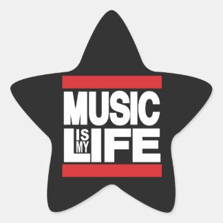 La música es mi rojo de la vida pegatina en forma de estrella