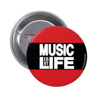 La música es mi rojo de la vida pin redondo de 2 pulgadas
