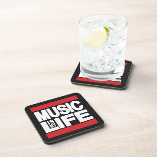 La música es mi rojo de la vida posavasos de bebida
