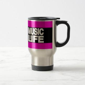La música es mi rosa de la vida taza de viaje