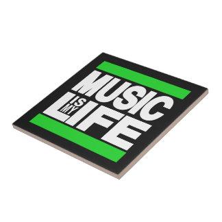 La música es mi verde de la vida azulejo cuadrado pequeño