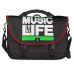 La música es mi verde de la vida bolsas de ordenador