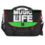 La música es mi verde de la vida bolsas de portátil