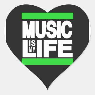 La música es mi verde de la vida colcomanias de corazon personalizadas