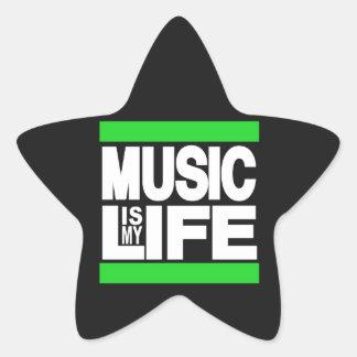 La música es mi verde de la vida pegatina en forma de estrella
