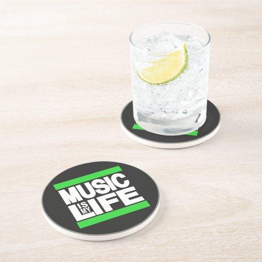 La música es mi verde de la vida posavaso para bebida