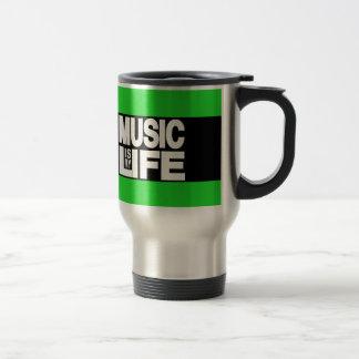 La música es mi verde de la vida taza térmica