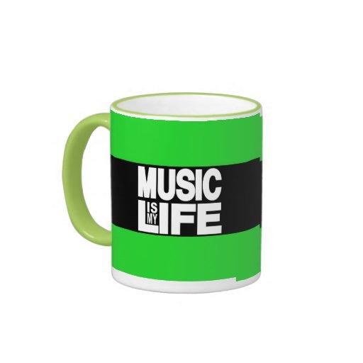 La música es mi verde de la vida tazas