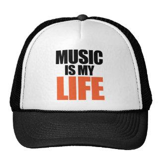 La música es mi vida gorros bordados
