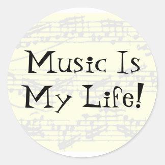 La música es mi vida pegatinas redondas
