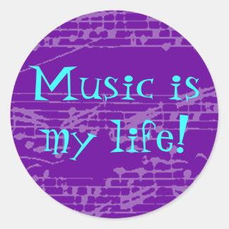 La música es mi vida etiqueta redonda