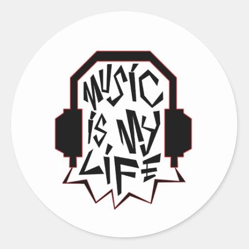 La música es mi vida pegatina redonda