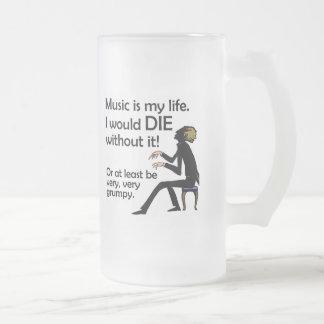 La música es mi vida taza de cristal