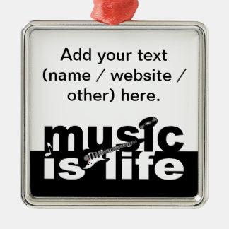 ¡La música es ornamento de la vida - personalizar! Adorno Navideño Cuadrado De Metal