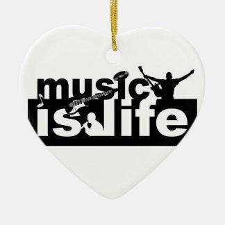 ¡La música es ornamento de la vida - personalizar! Adorno Navideño De Cerámica En Forma De Corazón