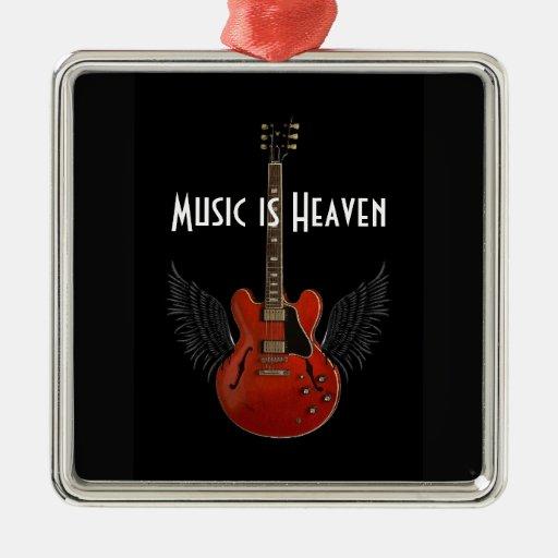 La música es ornamento del navidad del cielo adorno cuadrado plateado