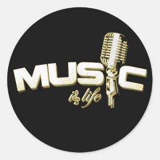 La música es pegatinas de la vida pegatinas redondas