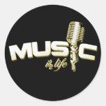 La música es pegatinas de la vida pegatina redonda