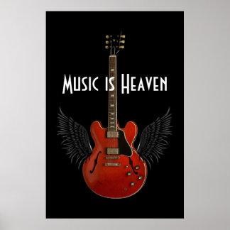 La música es poster del cielo 36 x 24 póster