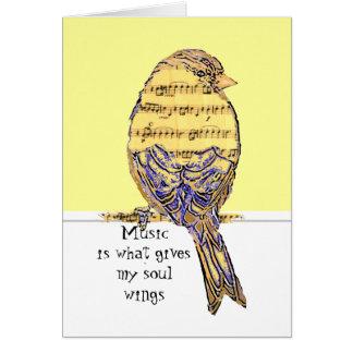 La música es qué da mis alas del alma con el pájar tarjeta pequeña