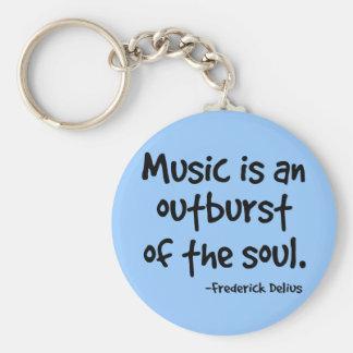 La música es un arrebato del regalo del alma llavero redondo tipo pin