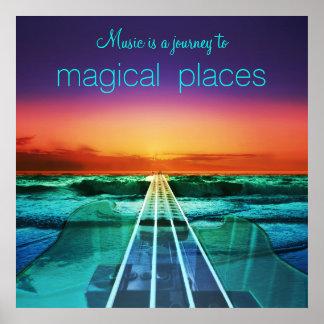 La música es un viaje al poster mágico de los póster
