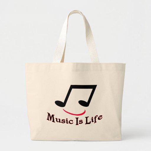 La música es vida bolsa tela grande