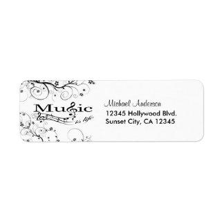 La música es vida etiquetas de remite