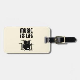 La música es vida etiqueta de equipaje