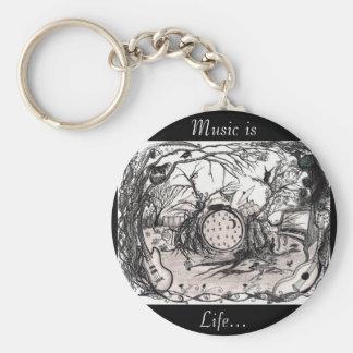 La música es vida - las ilustraciones y cita del llavero redondo tipo pin