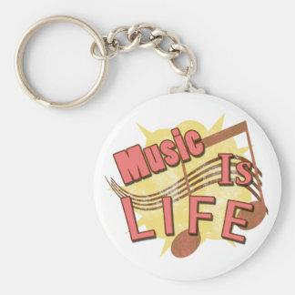 La música es vida llavero redondo tipo pin