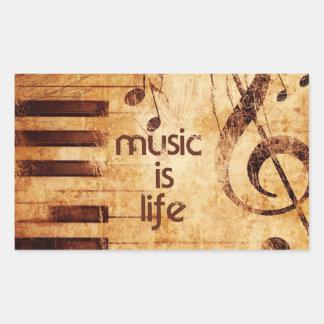 La música es vida rectangular pegatinas