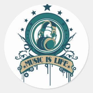 La música es vida pegatina redonda