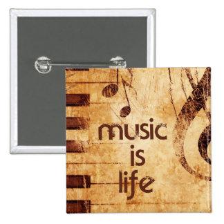 La música es vida pin cuadrada 5 cm